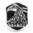 Mens Punk Silvery Stainless Steel Wild Eagle Head Shield Biker Ring Jewelry Gift