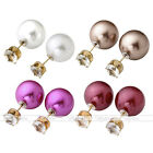 Fashion Lady Celebrity Runway Double Pearl Beads Cubic Zirconia Earring Ear Stud