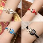 Fashion Vintage Women's Retro Cute Owl Leather Charms Chain Bracelet Bangle Gift