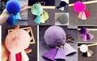 Soft Rabbit Fur Ball PomPom Cell Phone Car Pendant Handbag Key Chain Ring