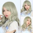 Harajuku Style Womens Party Wig Long Wavy Curly Ombre Blue Green Cosplay Hair