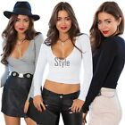 Blouse V Neck Shirt Women Crop Top Cotton Blend Casual Sexy Clubwear gift TXST