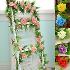 8Ft Colorful Rose Garland Silk Flowers Vine Party Wedding Garden Home Decor 2.4m