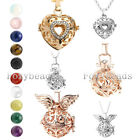 Hollow Heart Angel Wings Locket Gems Lava Rock Bead Pendant Chain Necklace Gift