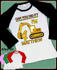 EXCAVATOR CONSTRUCTION CAN YOU DIG IT BIRTHDAY RAGLAN SHIRT WITH NAME AND AGE