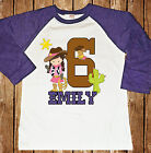 COWGIRL STANDING BIRTHDAY RAGLAN SHIRT WITH NAME AND AGE YEEHAW WILD WEST