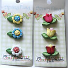 Spring Fling Flower Buttons by Buttons Galore / Daisy or Tulip 3D Shank Buttons