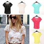 New Women Sexy Short Sleeve Lace Hollow Crochet T-shirt Tops Casual Blouses