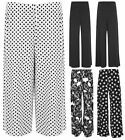Womens Plus Size Gothic Skull Polka Print Baggy Palazzo Trousers Pants UK12-26