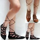 New Women A45 Black Tan Pointed Wrap Lace Up String Ballet Flats