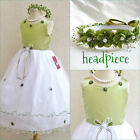 Gorgeous Sage green wedding pageant flower girl party dress size 2 4 6 8 10 12