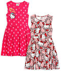 Girls Official Hello Kitty Sleeveless Skater Dress New Kids Dresses 4 6 8 10 Yrs