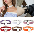 Women Punk Goth Leather Rivet Buckle Heart Ring Collar Choker Funky Necklace