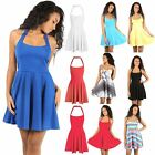 Womens Sleeveless Backless Flared Ladies Franki Party Mini Skater Dress UK 8-26