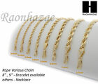 "NEW 14K GOLD PLATED ROPE NECKLACE CHAIN (3-8mm) w/ (8""/9""/18""/20""/24""/30""/36"")"