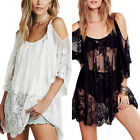 Mew Charm Women Beach Sunscreen Clothing Lace Strapless Lace Hollow Sexy DressLA