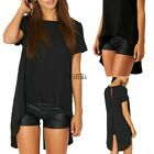 New Women Short Sleeve Round Neck Chiffon Sexy T-Shirt Shirt Tops Blouse Black