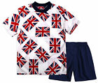 Boys Union Jack Short Sleeved T-Shirt And Shorts Kit New Kids England Sports Set
