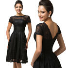 HOT Knee Length Sexy Lace Formal Prom Gown Cocktail Party Grad Bridesmaids Dress