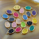 2pcs Acrylic Crystal Druzy Oval/Oblong  Gold Connector Beads For Making Bracelet