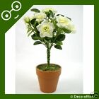 Artificial Cream Silk Mini Rose Topiary Plant wedding
