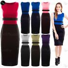 Womens Sleeveless Ladies Celeb Contrast Panel Pencil Bodycon Midi Skirt Dress