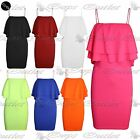 New Womens Ladies Celebrity Off Shoulder Stretch Double Frill Bodycon Mini Dress