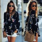 Women Lady Sexy Casual Long Sleeve Blouse Sheer Summer Floral Shirt Tops T-shirt