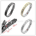 Mens Steel 4in1 Bio Magnetic Check M Type Chain Energy Therapy Bracelet Bangle
