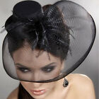 Wedding Accessory Lady Classic Black/Red Fascinator Headpiece Wool Party Top Hat