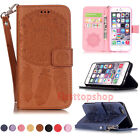 Fashion Campanula Leather Wallet Card Holder Stand Phone Case Cover w/ Wristlet