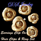 Golden Leather Carved Flower Hair Clips & Earring Clip On & Ring Set
