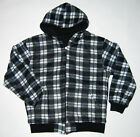Mens Reversible Checker Fleece Zipper Front Hoodies S - 3XL Black #35 NEW