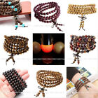 6/8mm Natural Wood 108 Prayer Beads Buddha Buddhist Mala Necklace 4-row Bracelet