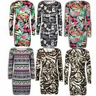 Womens Long Sleeves Tiger Floral Aztec Print Ladies Bodycon Dress Top Size 8-14