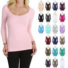 High Quality Seamless 3/4 Sleeve Round Scoop Neck Top Good Stretch Soft ONE SIZE