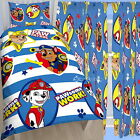 "Paw Patrol Pawsome Single Duvet & Matching Curtains Set 54"" or 72"" Drop Bed Set"