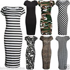 Ladies Women Cap Sleeve Polka Dot Bodycon Stretch Jersey Printed Midi Dress