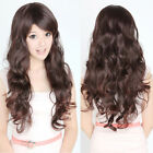 Womens Lady Curly Wavy Long Full Wigs Hair Party Cosplay Natural Black Brown Wig