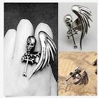 Modish Vintage Rock Gothic Cool Skull Wing Cross Adjustable Finger Ring LACA