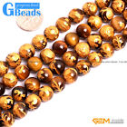 Natural Tiger's Eye Carved Buddhist Tibet Mala Prayer Round Beads Free Shipping