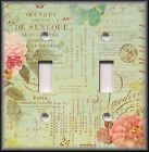 Light Switch Plate Cover - French Floral On Green - Shabby Chic Home Decor