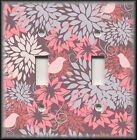 Light Switch Plate Cover - Pink And Grey Mums Flowers - Floral Home Decor