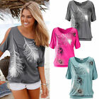 Sexy Women Lady Feather Printed Off Shoulder Loose Casual Tops Blouse T-Shirt
