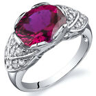 Classy Brilliance 3.50 cts Ruby Cocktail Ring Sterling Silver Size 5 to 9