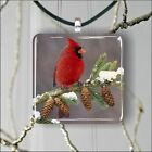 BIRD RED CARDINAL WINTER AND PINE CONE PENDANTS NECKLACE MEDIUM OR LARGE -fg61sx