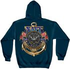 Navy Blue Hooded Sweatshirt with US Navy The Sea is Ours Design
