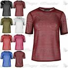 Womens Turn Up Short Sleeves Round Neck Top See Through Baggy Mini Tee Shirt