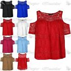 Womens Ladies Ruched Scoop Neck Layered Cold Shoulder Top Ladies Lace Dress