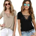Women Deep V Neck Lace Up Crop Tops Sexy Loose Front Plunge Tee Shirt Blouse